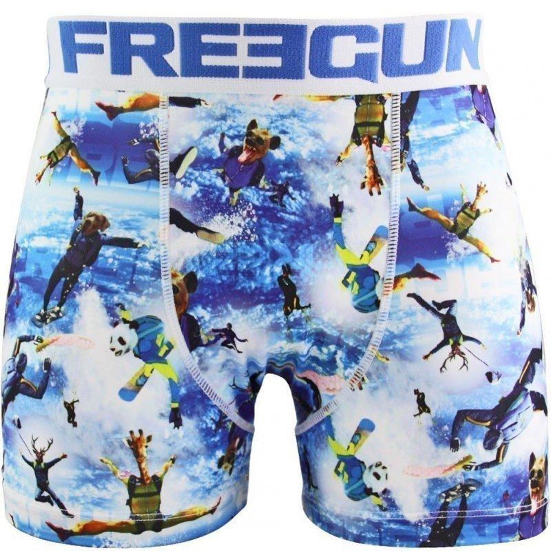 FREEGUN Boxer Homme Microfibre PAR Blanc Bleu PREMIUM