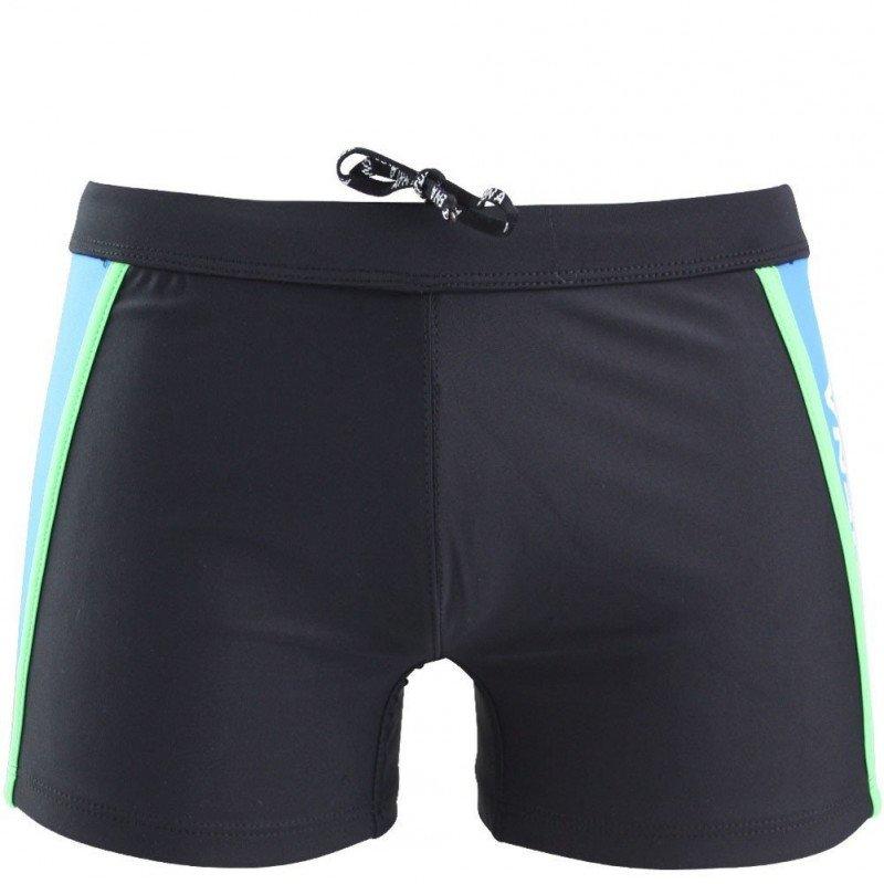 ATHENA Boxer Bain Moulant Homme CONSTRUCTION Noir Turquoise