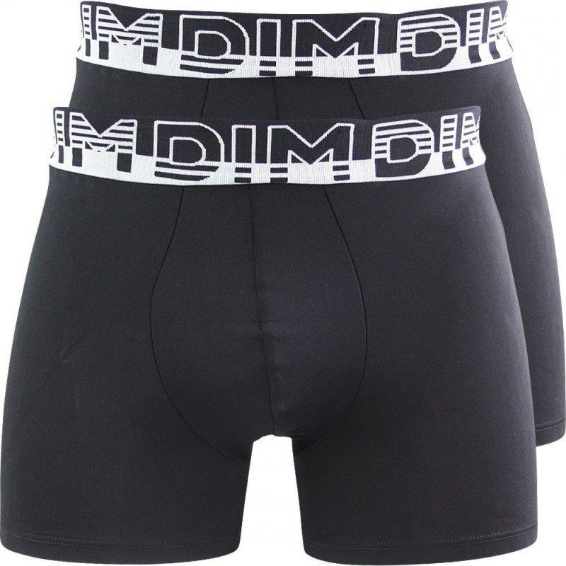 DIM Lot 2 Boxers Homme Microfibre SOFT TOUCH MICRO Noir Noir