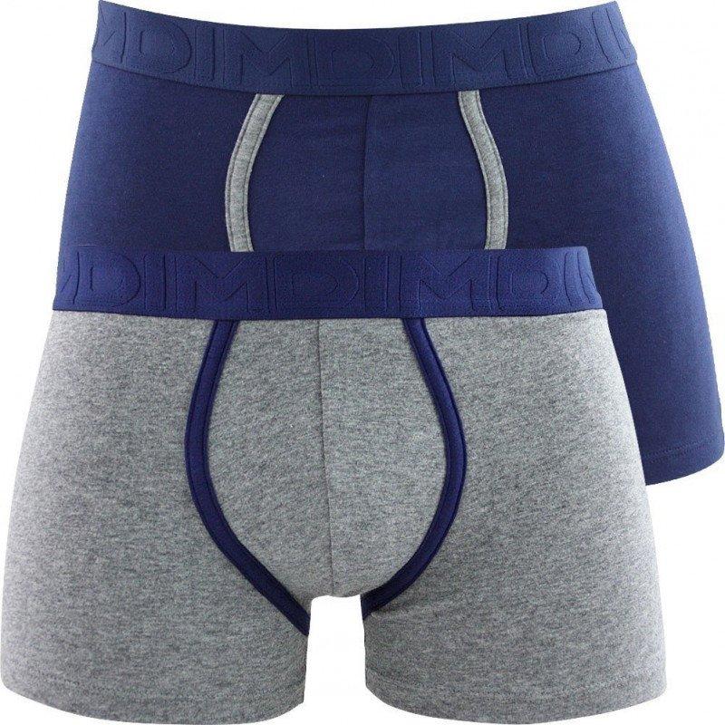 DIM Lot de 2 Boxers Homme Coton MIXANDFANCY Gris chiné Bleu marin