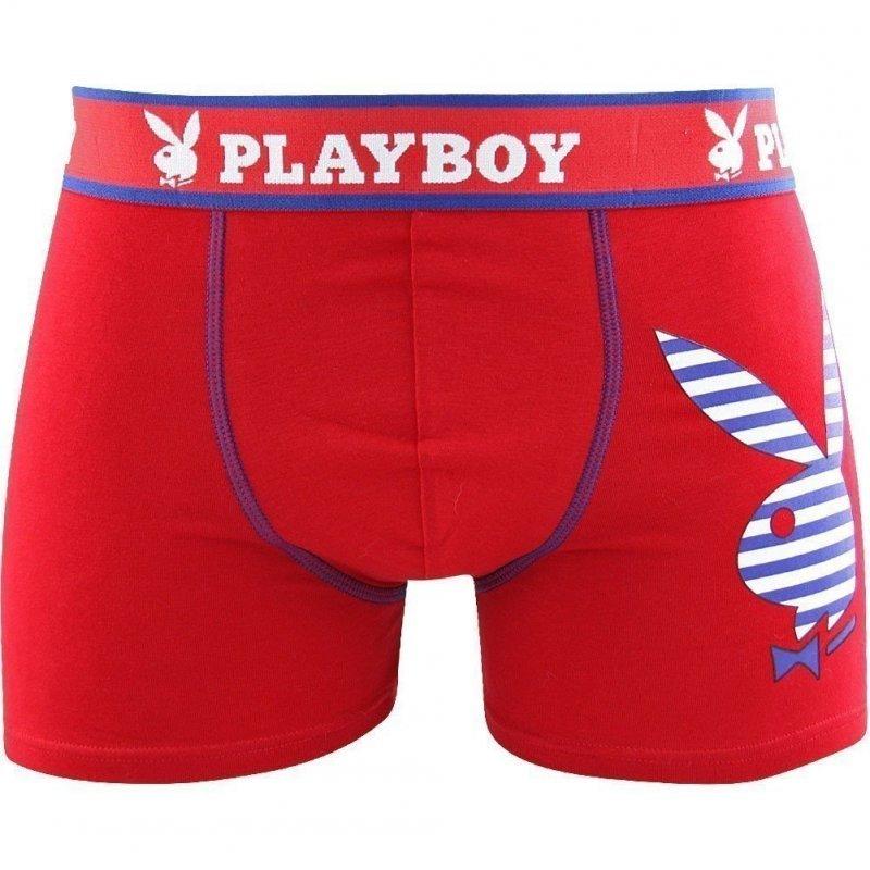 PLAYBOY Boxer Homme Coton RABBIT ADDICT Rouge Ruban