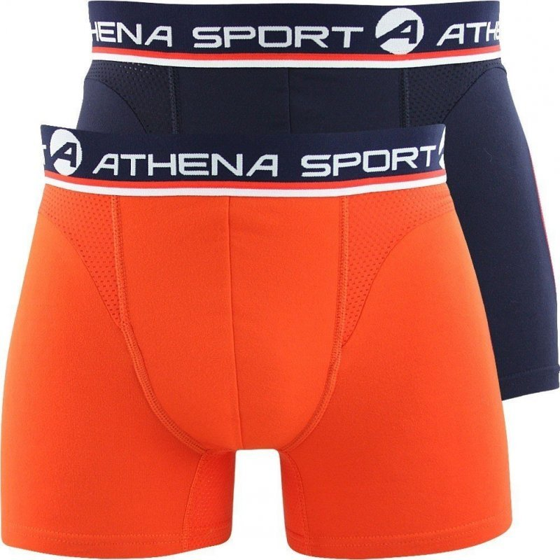 athena lot de 2 boxers homme microfibre sportco marine orange. Black Bedroom Furniture Sets. Home Design Ideas