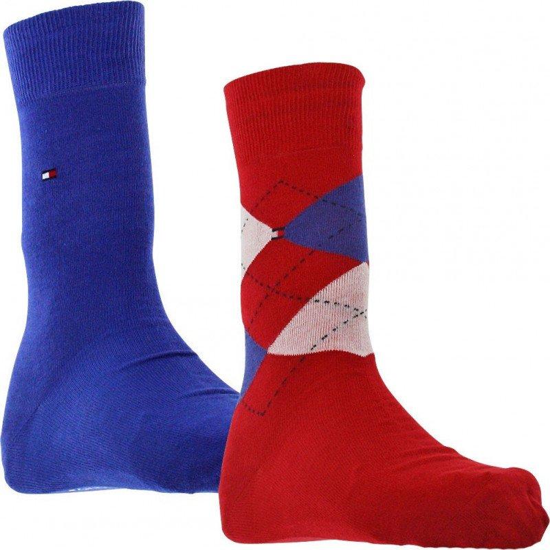 8a1812bc1b1 TOMMY HILFIGER Lot de 2 paires de Chaussettes Homme Coton CHECK Bleu Rouge